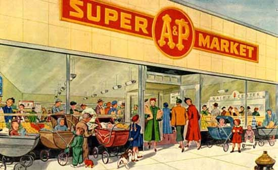 Cartoon grocery building