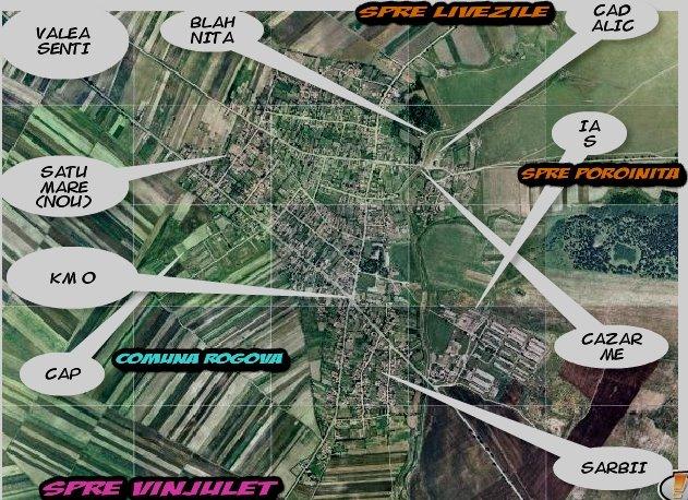 Comuna Rogova vazuta din satelit