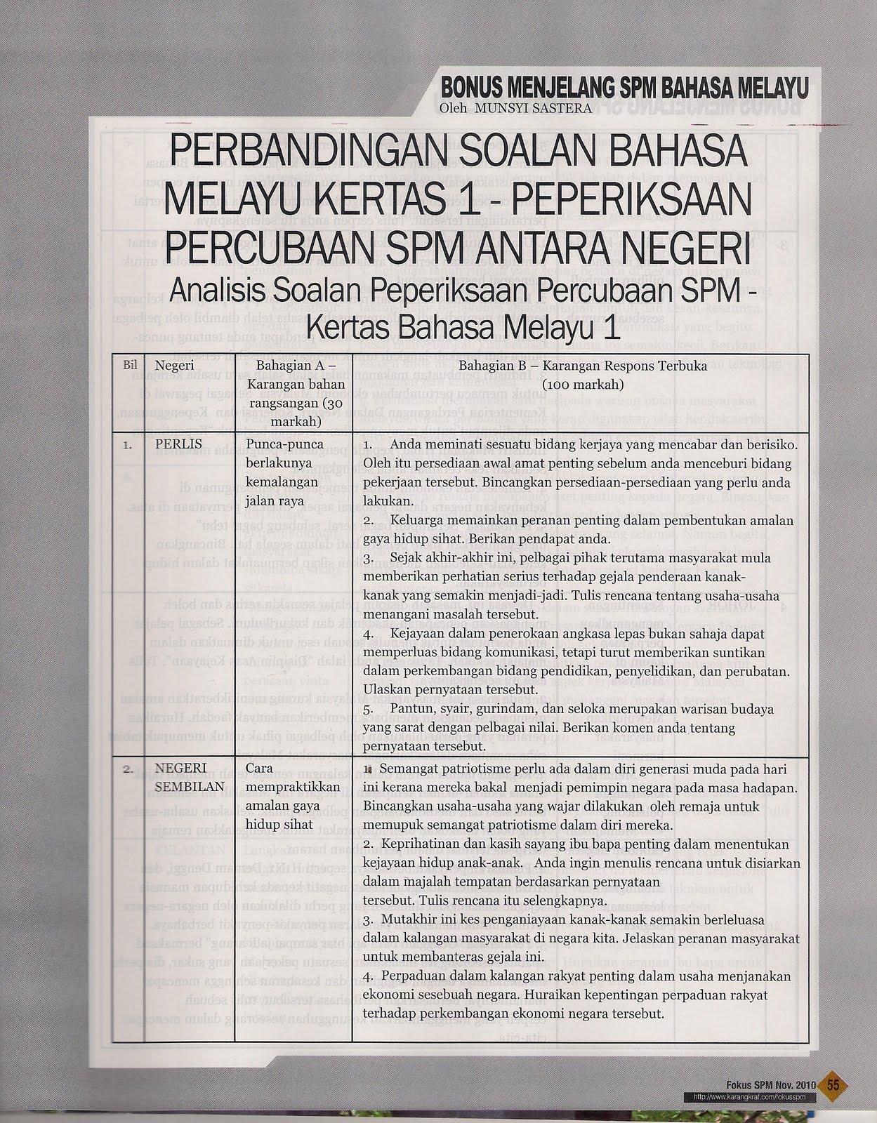 17 set soalan Bahasa Melayu 1 Peperiksaan Percubaan SPM antara negeri