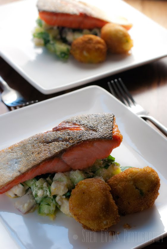 ... Trout with Cucumber-Feta Relish and Jalapeno-Goat-Cheese Hush Puppies