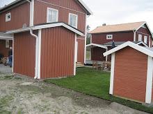 Vårt hus med nylagd gräsmatta och ny lekstuga