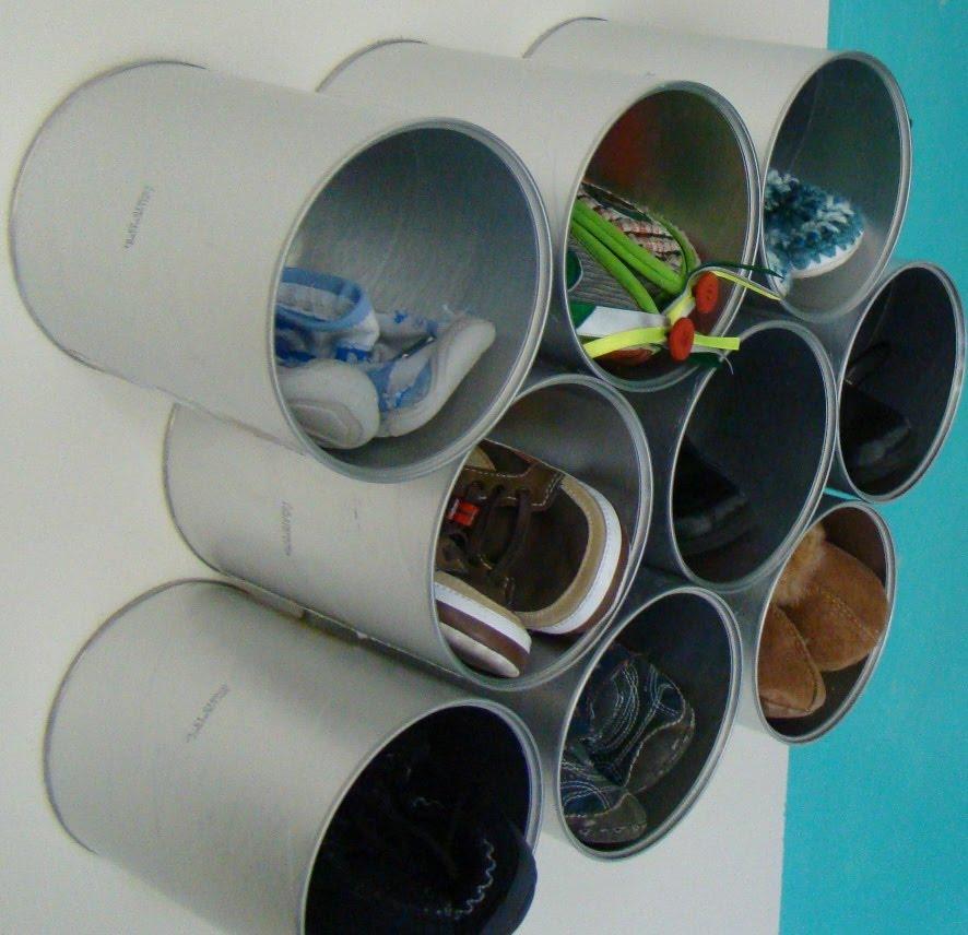 Tulix zapatera o archivero con latas de leche for Como hacer una zapatera