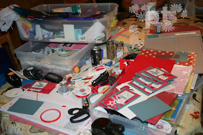 messy stamping area stampin up airbornewife