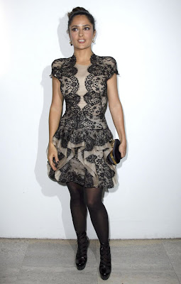Salma Hayek In Black Nylons