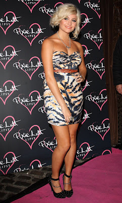 Pixie Lott In A Striped Minidress