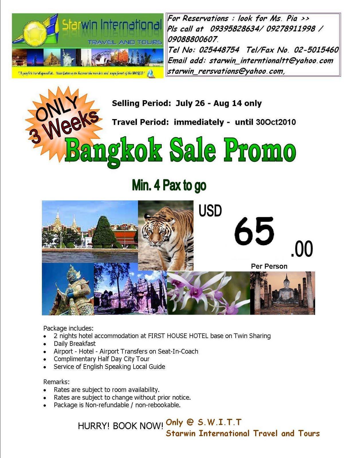 Starwin International Travel And Tours Bangkok Land Arrangement Package Sale Promo