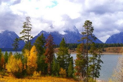 View from Signal Mountain Lodge, Grand Teton National Park, 5 October 2008. Photo by Chas S. Clifton