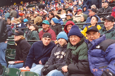 Benjamin Rubenstein and family at Baltimore Orioles 2003 Opening Day blizzard game