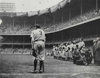 Babe Ruth walking away from camera