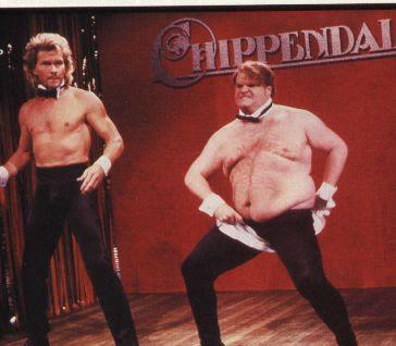 Patrick Swayze and Chris Farley on SNL