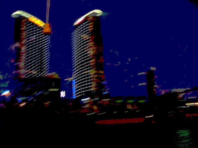 shanghai night skyline special effects