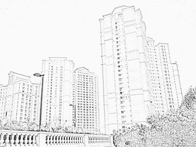 cluster buildings skyscrapers sketch