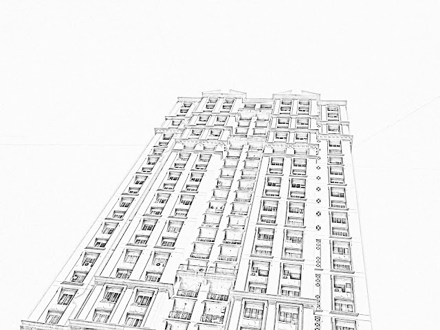 single high-rise skyscraper sketch