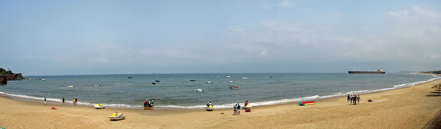 panoramic view of beach, sea and boats
