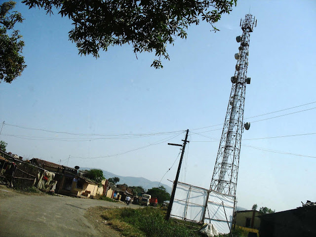 cellphone satellite tower in village