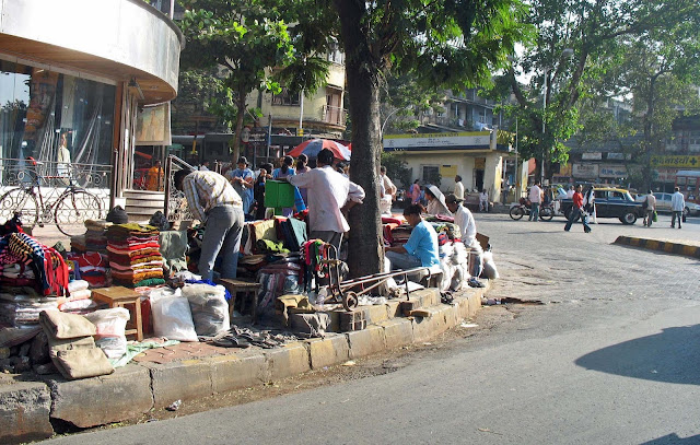 pavement vendors selling woollens