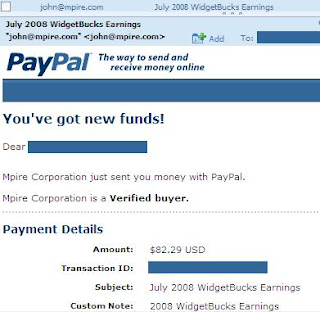 Widgetbucks Proof of Payment for July 2008