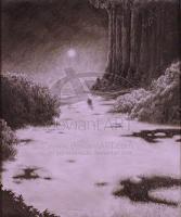 landscape fantasy art scifi science fiction horror dark night moor swamp