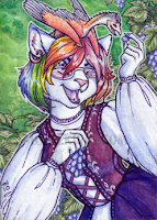 crystal_fox, aceo,  trade,  rainbow, cat,  furry,  anthro,  dragon,  wyvern