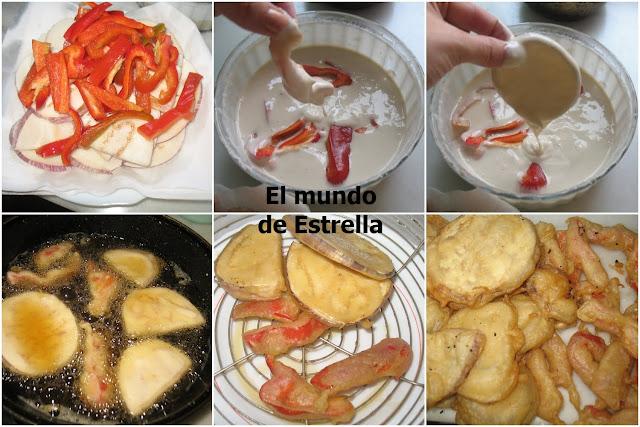 Berenjenas y pimientos rojos en tempura
