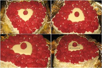 Tarta de chocolate blanco, nata y frambuesas
