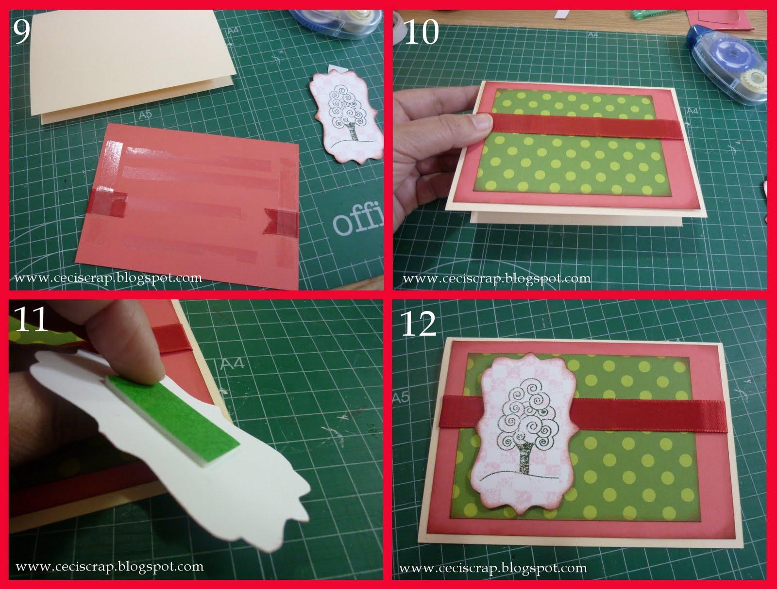 otra vez cinta doble cara por detrs o el pegamento que usis y a pegarlo sobre la tarjeta le pongo un poco de cinta de relieve por detrs a