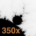 Aumento de 350 vezes do conjunto de Mandelbrot mostra os pequenos detalhes repetindo o conjunto inteiro.