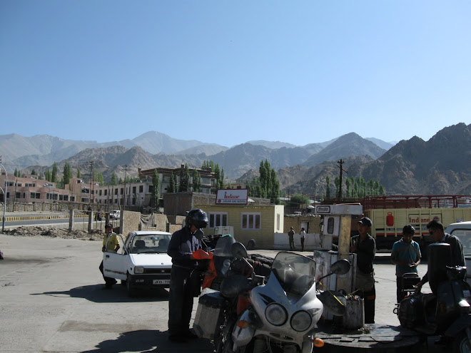 Gassing up before leaving Leh