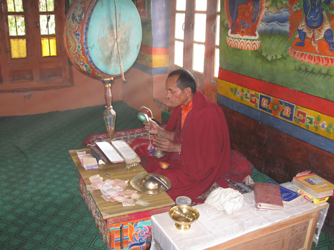 Buddist Monk in Temple at Mulbech