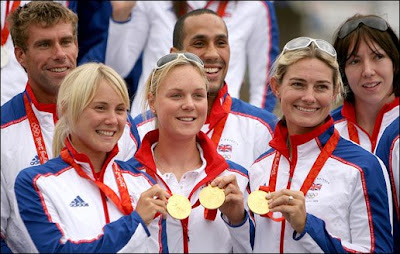 Sarah Ayton, Pippa Wilson and Sarah Webb with their gold medals