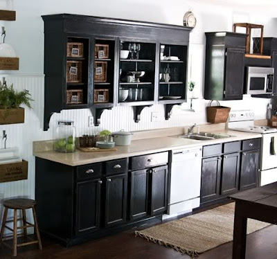 Black cabinets with white appliances native home garden Black cabinet kitchens pictures