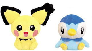 Notched ear Pichu & Piplup DX Plush Banpresto