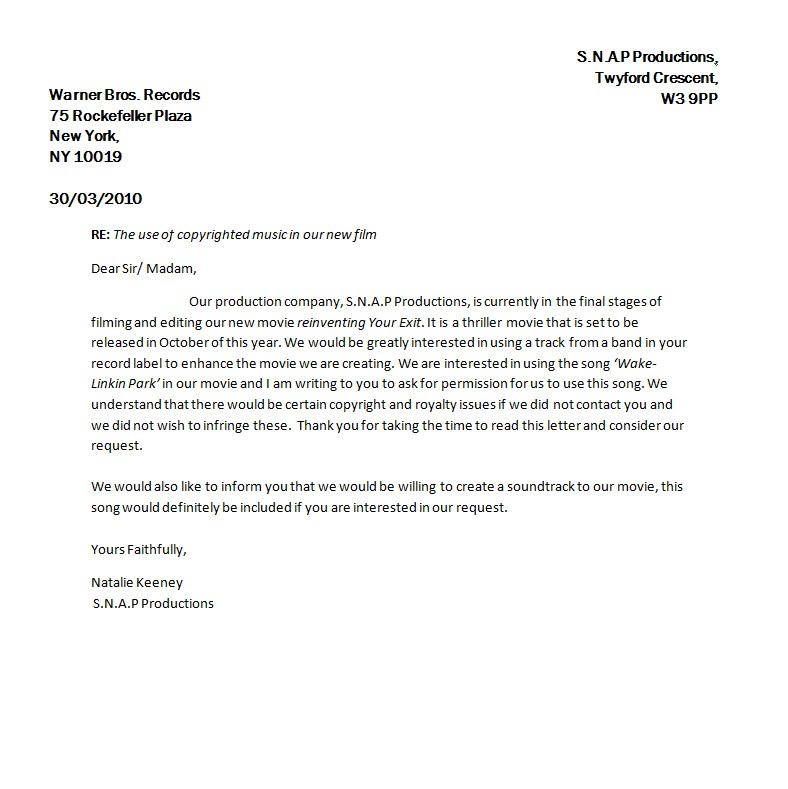 SNAP MEDIA Letters Seeking Permission For Use Of