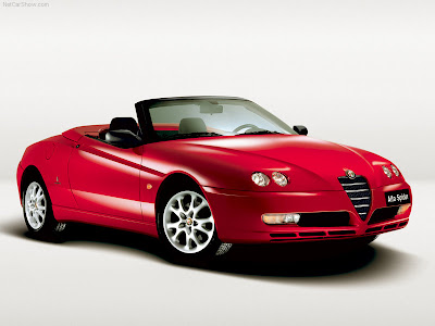 Exotic Red Alfa Romeo Spider Six Cylinder Engines