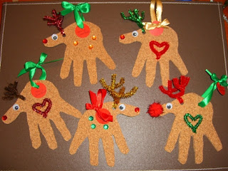 reindeer handprint ornament, Christmas ornament, kids craft