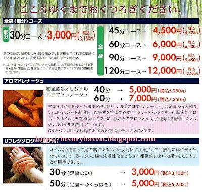 tokyo foot reflexology prices