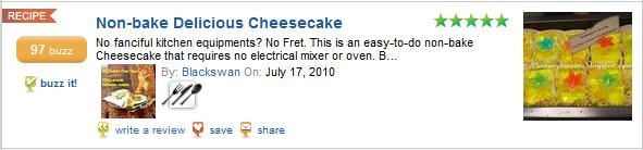 foodbuzz features non baked peachy cheesecake