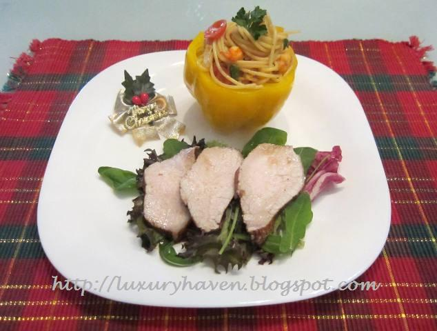 christmas earl grey pork loin with wafu spaghetti recipes