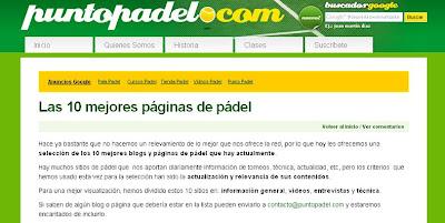 mejores paginas web padel