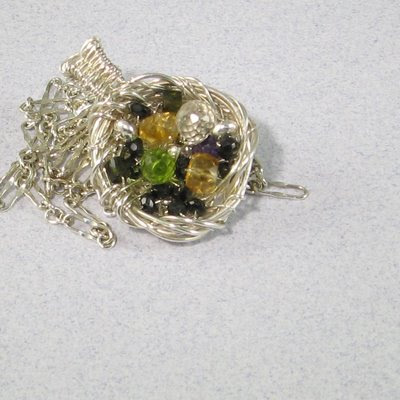 Wire Bird's Nest and Gemstone