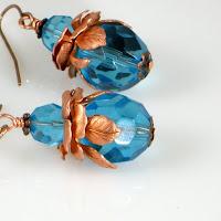 Vintage MetalWorx Aqua Crystal Handmade Earrings