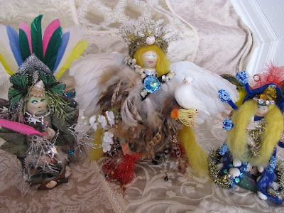 camilla la mer, art dolls, spirit dolls, healing dolls, shaman dolls, process art, bead embroidery, jungian psychology, personal, angels, owls, fox