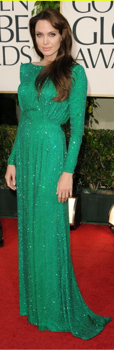 Angelina Jolie green Versace dress Golden Globes 2011 with Brad Pitt