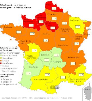 L'évolution de la grippe en France et en régions