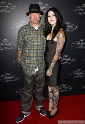 Kat Von D. and Jesse James at Kat's art Wonderland gallery pictures