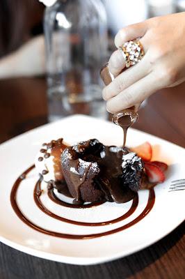 Chocolate Souffle, Rhubarb-White Chocolate Souffle