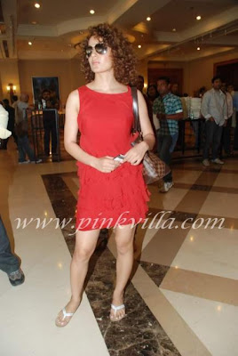Kangana Ranaut in red dress at the Power Film Mahurat