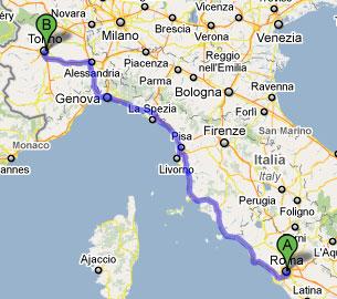 Percorso per andare da Roma a Torino