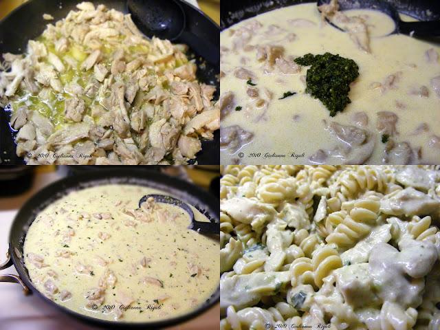 Preparing Pesto Alfredo Chicken Rotini Recipe