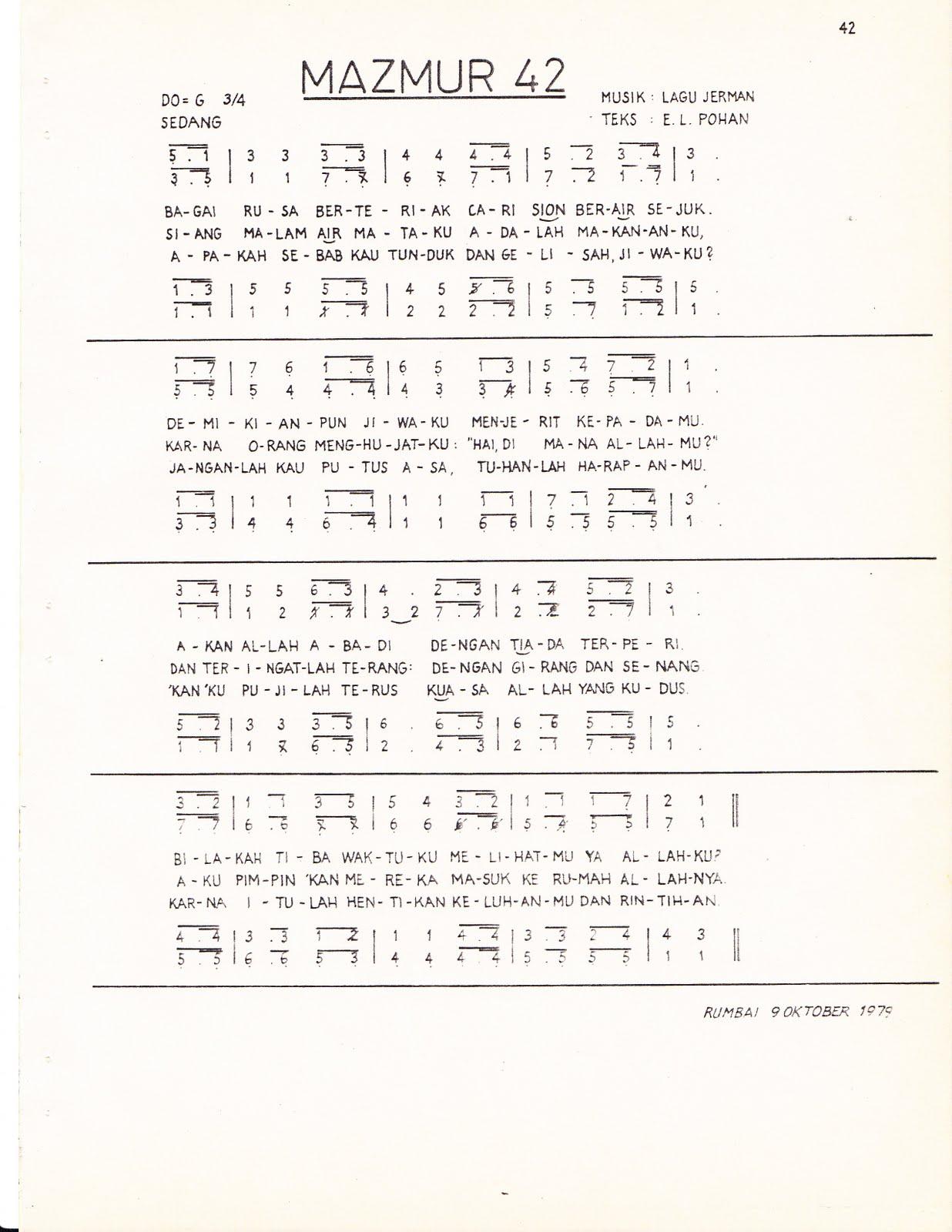 MAZMUR 42, Lagu Jerman, Teks: E. L. Pohan
